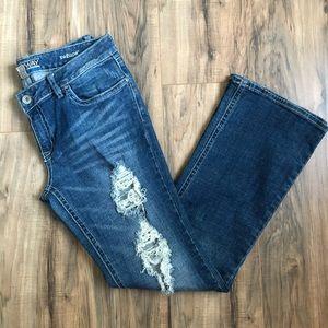 Distressed Blue Bootcut Jeans Size 12L Refuge
